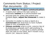 comments from status project plan documents 3