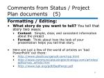 comments from status project plan documents 5