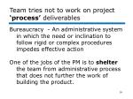 team tries not to work on project process deliverables