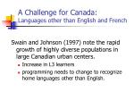 a challenge for canada languages other than english and french