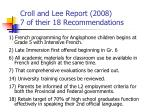 croll and lee report 2008 7 of their 18 recommendations