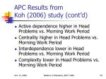 apc results from koh 2006 study cont d
