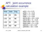 apt joint occurrence calculation example