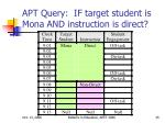 apt query if target student is mona and instruction is direct