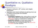 quantitative vs qualitative paradigms