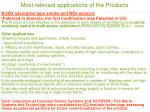 most relevant applications of the products