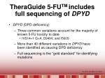 theraguide 5 fu tm includes full sequencing of dpyd