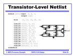 transistor level netlist