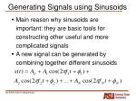 generating signals using sinusoids