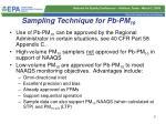 sampling technique for pb pm 10