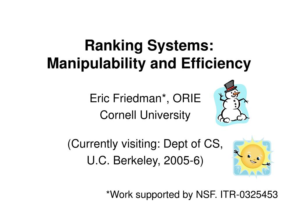 ranking systems manipulability and efficiency l.