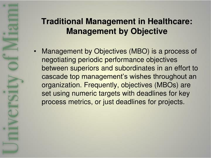 Traditional management in healthcare management by objective
