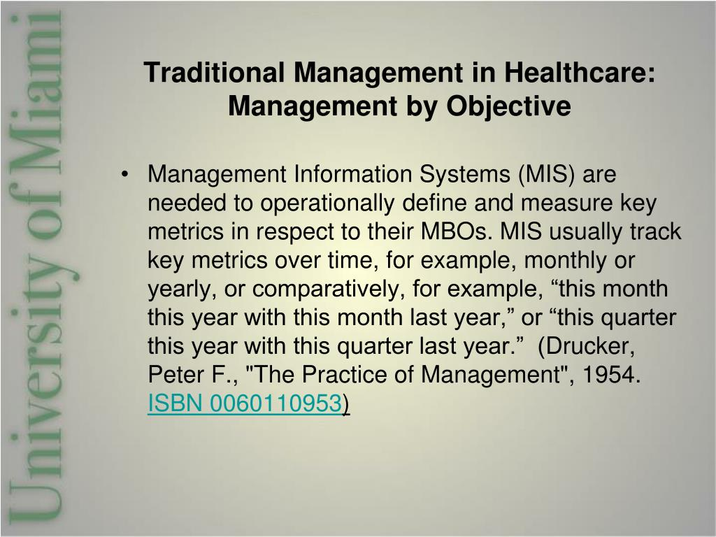 Traditional Management in Healthcare: Management by Objective
