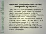 traditional management in healthcare management by objective6