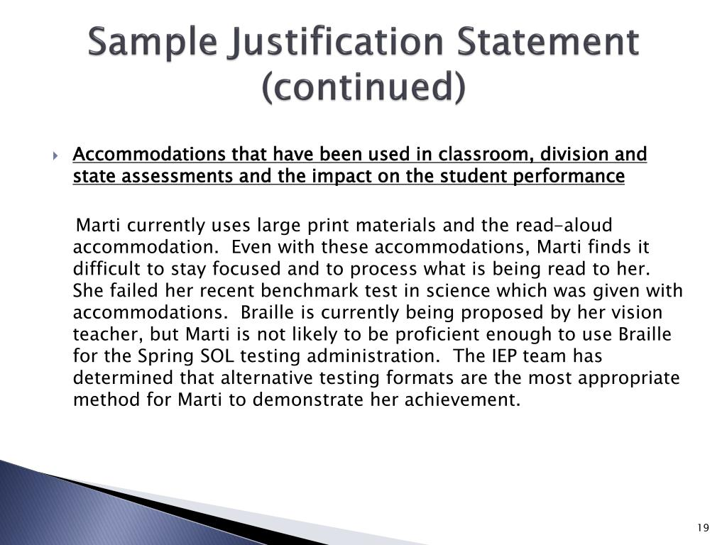 Sample Justification Statement (continued)
