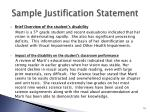 sample justification statement