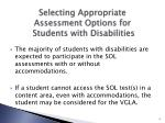 selecting appropriate assessment options for students with disabilities