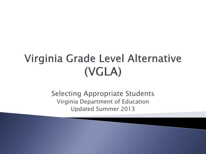 Virginia grade level alternative vgla