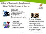 the cdfd finance team