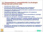 1 1 innovazione competitivit la strategia d impresa per prima cosa