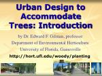 urban design to accommodate trees introduction