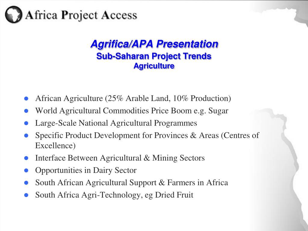 agrifica apa presentation sub saharan project trends agriculture l.