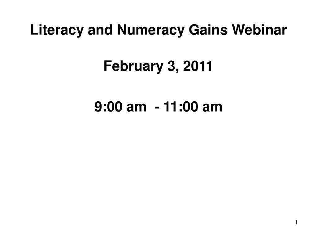 literacy and numeracy gains webinar l.