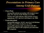 common symptom presentations in primary care among gad patients