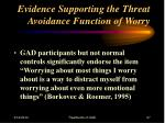 evidence supporting the threat avoidance function of worry27