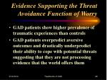 evidence supporting the threat avoidance function of worry28