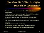how does gad worries differ from ocd obsessions