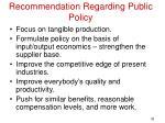 recommendation regarding public policy