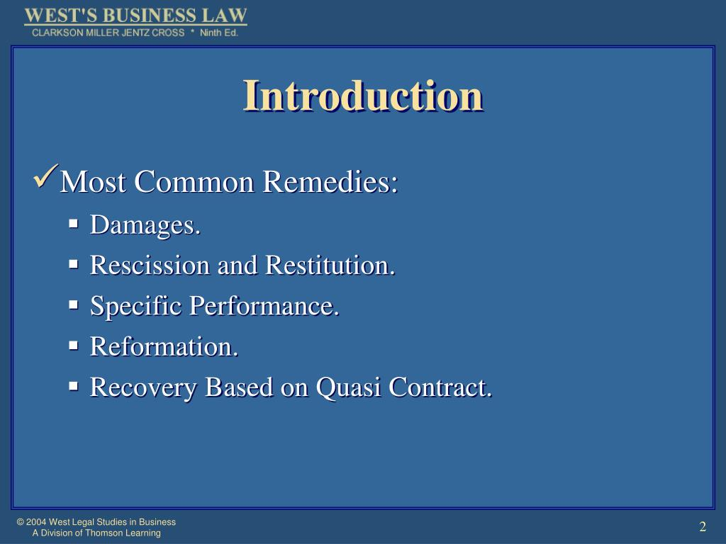 PPT - Chapter 17 Contracts: Breach of Contract and Remedies