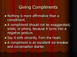 giving compliments