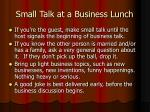 small talk at a business lunch