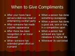 when to give compliments