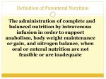 definition of parenteral nutrition