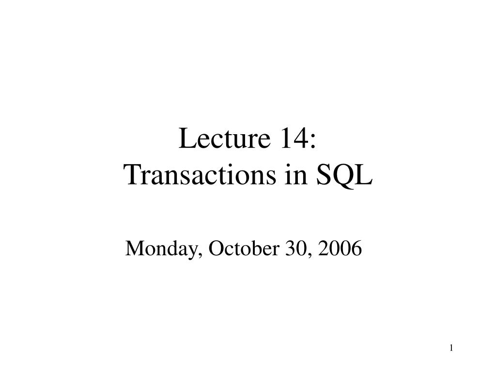 lecture 14 transactions in sql l.