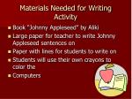 materials needed for writing activity