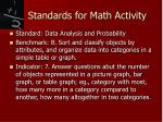 standards for math activity