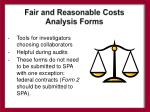 fair and reasonable costs analysis forms