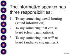 the informative speaker has three responsibilities