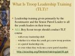 what is troop leadership training tlt