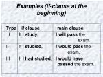 examples if clause at the beginning