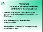 methods sources of evidence collated to contribute to the evaluation