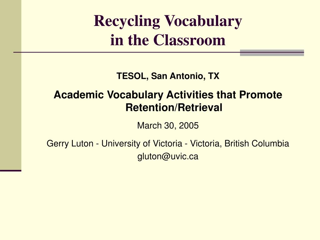 recycling vocabulary in the classroom l.