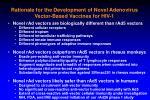 rationale for the development of novel adenovirus vector based vaccines for hiv 130