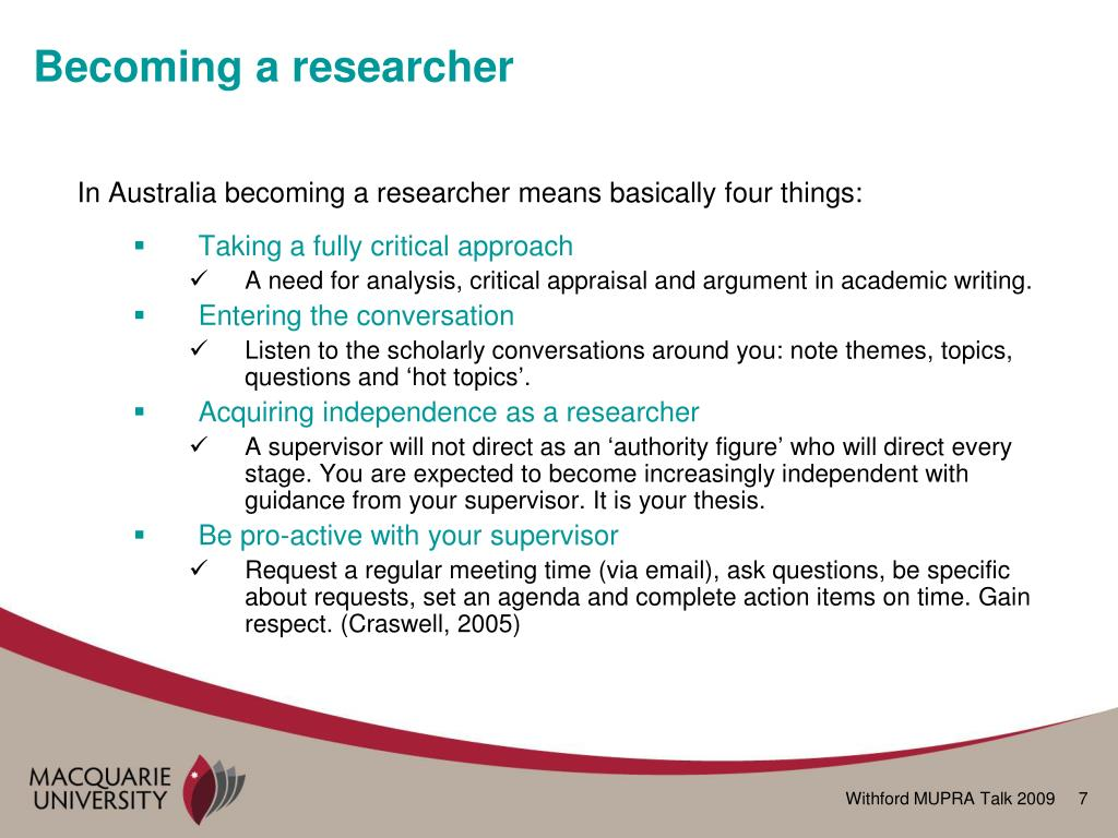 Becoming a researcher
