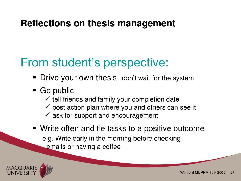 Reflections on thesis management
