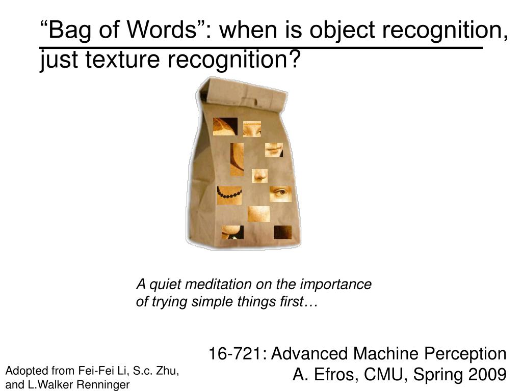 bag of words when is object recognition just texture recognition l.